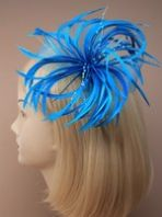 Blue Large Feather and Bead Fascinator
